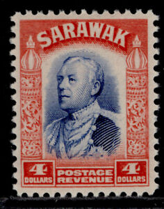 SARAWAK GV SG123, $4 blue & scarlet, LH MINT. Cat £50.