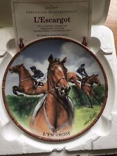 L'ESCARGOT FAMOUS RACEHORSE PLATE DANBURY MINT ROYAL WORCESTER WITH CERTIFICATE