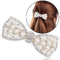 HD_ Qu_ KQ_ Women Fashion Rhinestone Bow Hair Clip Hairpin Barrette Faux Pearl H