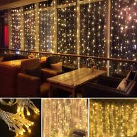 Fairy Curtain String Light Hanging Backdrop Wall Lights Wedding Party Xmas Decor