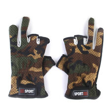 1 Pair 3 Cut Fingers Camo Camouflage Fishing Gloves Sports Anti Slip Palm