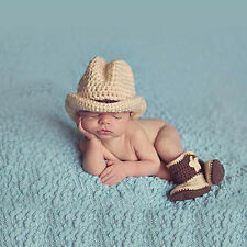 Cowboy Baby Infant Newborn Handmade Crochet Beanie Hat Boots Photograph Props
