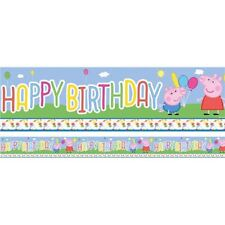 Peppa Pig Cute Children Party Carnival Birthday 5 Yard Foil Banner Decoration