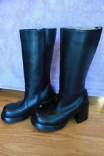 NEW Steve Madden Black Leather Womens Boots Ray Brazil size 7 mid-calf high heel