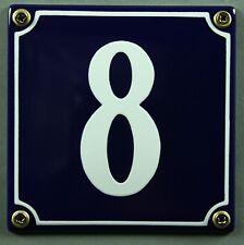 """Blaue Emaille Hausnummer """"8"""" 12x12 cm Hausnummernschild sofort lieferbar Schild"""