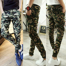 Men's Camouflage Camo Slim Long Pants Joggers Sport Sweatpants Skinny Trousers