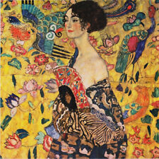 Klimt Lady with a Fan Colorful pattern 12 x 12 inch Needlepoint Canvas