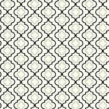 Wallpaper Contemporary Black and Metallic Silver Trellis on White Background