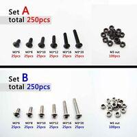 250pcs Assortment Kit M2 M3 Round Button Head Hex Socket Allen Bolt Screw Nut