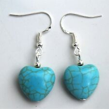 Turquoise Earrings Gemstone Love Hearts with Sterling Silver Hooks B198