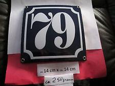 Hausnummer Emaille Nr. 79 weisse Zahl auf blauem Hintergrund 14 cm x 14 cm .....