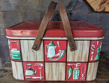 Vintage Decoware Metal Mcm Tin Red Green Brown Picnic Basket Wood Handles Usa