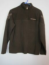 Women's Harley Davidson Black Ribbed Fleece Sweater- Size Small Eagle Sleeve