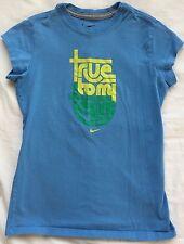 "NIKE Athletic Shirt Girls Size L EUC Blue ""True to my Team"" Short Sleeve"