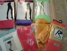 Lot of 7 plus size opaque tights in solid colors, neon green, red, purple,