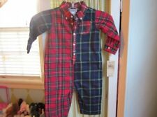 NWT RALPH LAUREN polo baby boys holiday madras plaid one piece 6 months