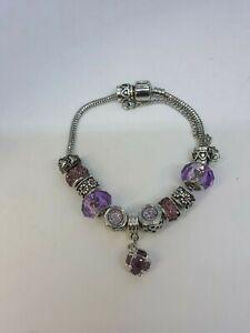 New Adjustable Sliding Charm Bracelet w/ Variety Purple Charms