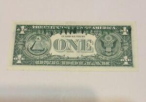 1969  One Dollar Ink Smear Error Bill Large Ink Smear