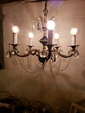 Antique Spanish 5 Arm Rare Brass Chandelier Crystal Prisms & Canopy Vintage