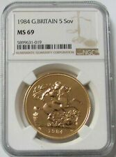 1984 GOLD GREAT BRITAIN 5 POUNDS ST. GEORGE COIN NGC MINT STATE 69