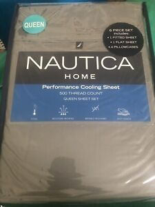 Nautica Home Queen Size Performance Cooling Sheet Set 500 TC Grey 6 Piece NEW