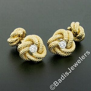Tiffany & Co. 14k Gold .24ct Bezel Diamond Textured Infinity Love Knot Cufflinks