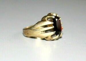 VINTAGE / ANTIQUE 9CT GOLD GILDED ON STERLING SILVER BOHEMIAN GARNET SIGNET RING