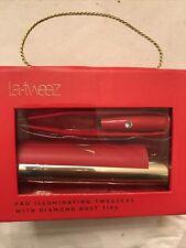 NEW La-Tweez Pro Illuminating RED Tweezers with Lipstick Case NEW IN PACKAGE