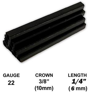 """Black Upholstery Staples 22 Gauge 3/8"""" 10mm Crown 1/4"""" 6mm Length 22Ga 6 mm stpl"""