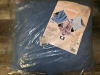 BEACON ~ NOS Vtg Blue Cotton 90 x 102 Queen/King Loom Woven Blanket Waffle