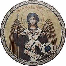 Archangel Michael Christian Religious Round Medallion Marble Mosaic FG974