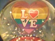Hallmark Gift Box Love Rainbow Heart Snow Globe Lighted Flashing Glitter New