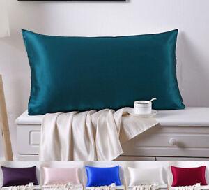 2PCS 22MM 100% Silk Pillowcases Pillow Covers Zip Closure Standard Queen King