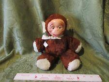 VHTF Vintage Monkigund MONKEY Hard Face Antique Toy Plush Gund Monki w/ bow ears