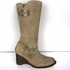 BED STU Tall Wedge Boots Monarch Tan Suede Leather SZ 10 Womens