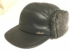 WIGENS KEN SNOW TOP WINTER CAP 100% LEATHER/ LAMB FUR 63CM XXL BLACK REAL FUR