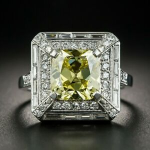 Vintage 925 Silver Citrine Square Simple Design Wedding Ring Wholesale !!
