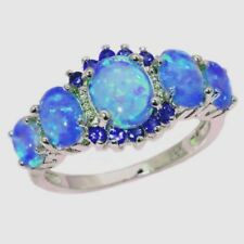 Art Deco Handcrafted Vintage Style Blue Fire Opal Silver Ring 8 Gift