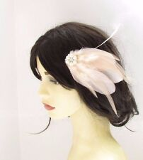 Blush Pink Ivory Silver Pearl Feather Fascinator Hair Comb Bridal Wedding 2446