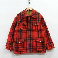 Vintage Woolrich Woolen Mills Mackinaw Coat Jacket 44 Red Plaid 40s 50s Hunting