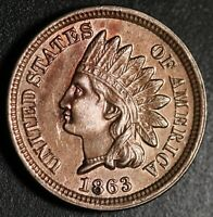 1863 INDIAN HEAD CENT - AU BU UNC - With A TOUCH OF MINT LUSTER!