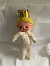 VTG Enesco Angel Doll Christmas Ornament Gold Crown Cloth Body Large