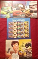 Disney Pixar Send a Hello full stamp sheet with full Set of 5 post cards 2011