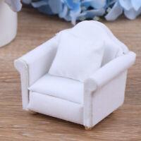 1/12 Dollhouse Miniature White Sofa with Back Cushion Doll House Accessor bc