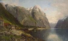 Oil painting Bakka i Nerøyfjorden Norway landscape with figures by river canvas