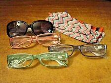 `4 Pair, Joy Mangano 3.50 Womans Sun,Reading Glasses, black, aqua, purple, red