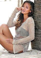 Women's mesh fishnet pullover shirt top bikini cover-up Girls Beach Swimwear