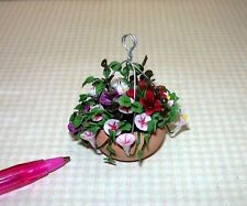 Miniature Hanging Basket (E-2) Mixed Florals w/DARK RED HIBISCUS: DOLLHOUSE 1:12