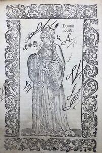 China 1598 Kostüm China Äusserst RAR Gravur Auf Holz Datiert Venedig