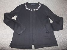BANANA REPUBLIC BLACK WOOL BLEND CARDIGAN SWEATER S SMALL JEWELED NECKLINE